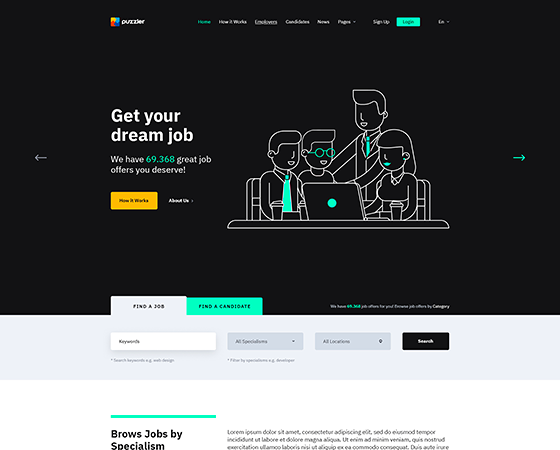 Puzzler - HTML Website Template for Job Board