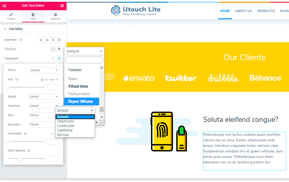 Utouch Lite Typography